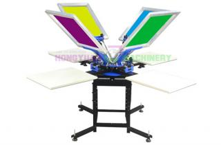 Manual 4 Color 4 Station Silk Screen Printer(GW-450)
